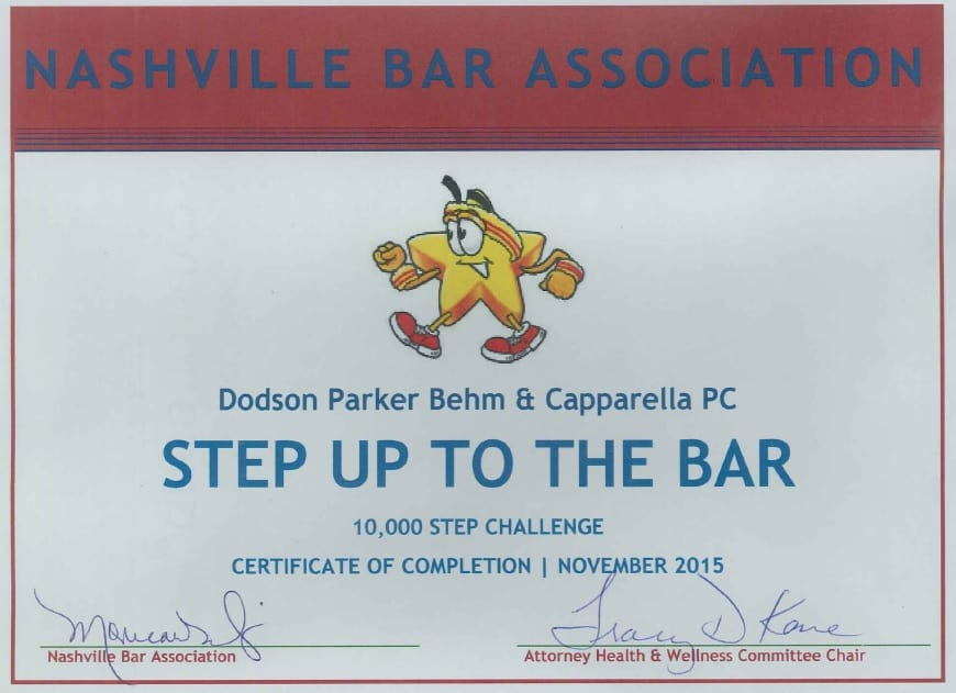 Step Up to the Bar Certificate