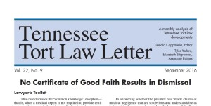 New Tennessee Tort Law Letter Available